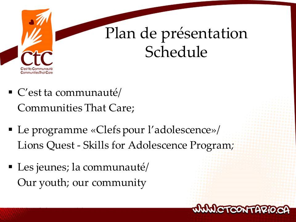 Cest ta communauté/ ; Communities That Care; Le programme «Clefs pour ladolescence»/ Lions Quest - Skills for Adolescence Program; Les jeunes; la communauté/ Our youth; our community Plan de présentation Schedule