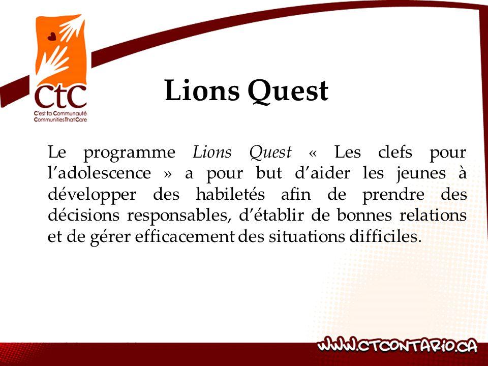 Le programme Lions Quest « Les clefs pour ladolescence » a pour but daider les jeunes à développer des habiletés afin de prendre des décisions responsables, détablir de bonnes relations et de gérer efficacement des situations difficiles.