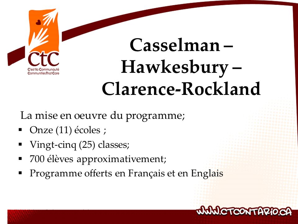 La mise en oeuvre du programme; Onze (11) écoles ; Vingt-cinq (25) classes; 700 élèves approximativement; Programme offerts en Français et en Englais Casselman – Hawkesbury – Clarence-Rockland