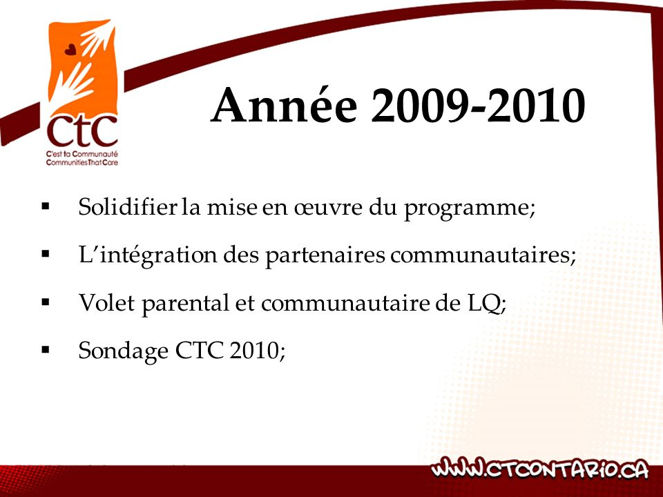 Solidifier la mise en œuvre du programme; Lintégration des partenaires communautaires; Volet parental et communautaire de LQ; Sondage CTC 2010; Année 2009-2010