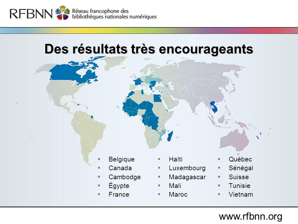 Belgique Canada Cambodge Égypte France Haïti Luxembourg Madagascar Mali Maroc Québec Sénégal Suisse Tunisie Vietnam Des résultats très encourageants