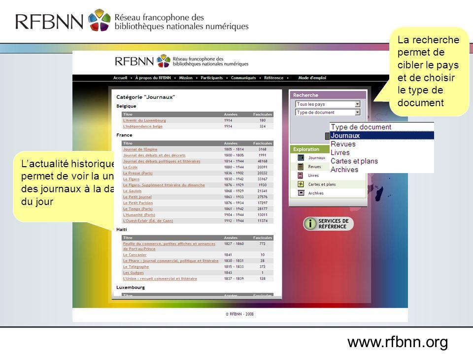 www.rfbnn.org Lactualité historique permet de voir la une des journaux à la date du jour La recherche permet de cibler le pays et de choisir le type d