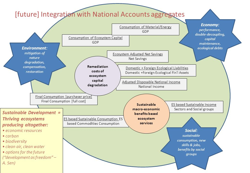 [future] Integration with National Accounts aggregates Final Consumption [purchaser price] Final Consumption [full cost] Adjusted Disposable National Income National Income Ecosystem Adjusted Net Savings Net Savings Consumption of Ecosystem Capital GDP Consumption of Material/Energy GDP Domestic + Foreign Ecological Liabilities Domestic +Foreign Ecological Finl Assets ES based Sustainable Income Sectors and Social groups ES based Sustainable Consumption ES based Commodities Consumption Environment: mitigation of nature degradation, compensation, restoration Social: sustainable consumption, new skills & jobs, benefits by social groups Economy: performance, double-decoupling, capital maintenance, ecological debts Sustainable macro-economic benefits based ecosystem services Remediation costs of ecosystem capital degradation Sustainable Development = Thriving ecosystems producing altogether: economic resources carbon biodiversity clean air, clean water options for the future (development as freedom – A.