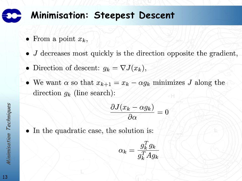 Minimisation Techniques 13 Minimisation: Steepest Descent