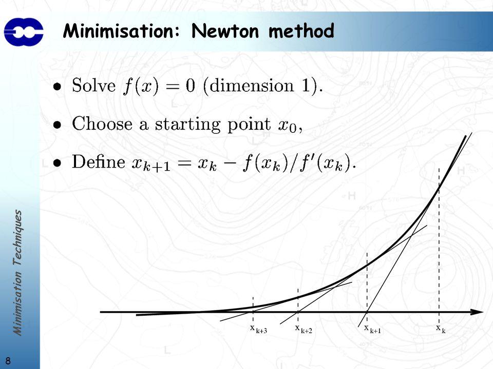 Minimisation Techniques 8 Minimisation: Newton method