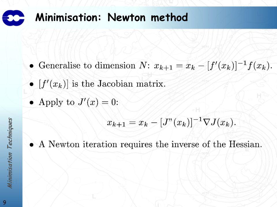 Minimisation Techniques 10 Minimisation: Quasi-Newton method
