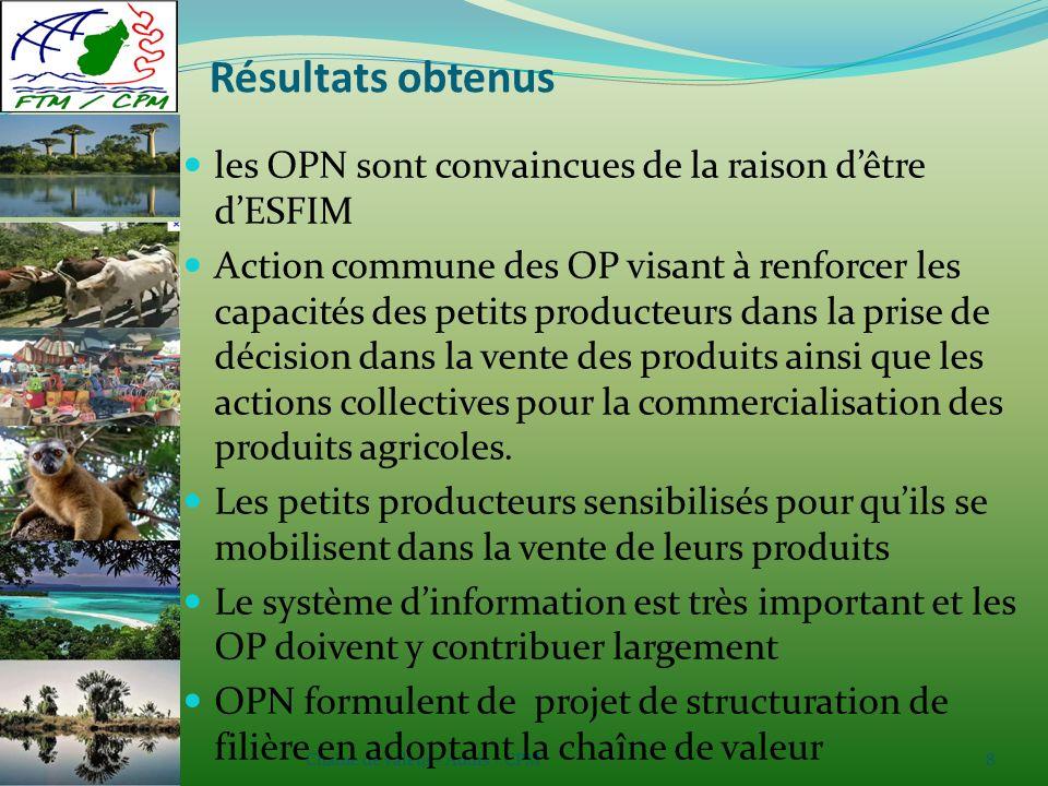 Chaîne de valeur - Addis / CPM8 Résultats obtenus les OPN sont convaincues de la raison dêtre dESFIM Action commune des OP visant à renforcer les capacités des petits producteurs dans la prise de décision dans la vente des produits ainsi que les actions collectives pour la commercialisation des produits agricoles.