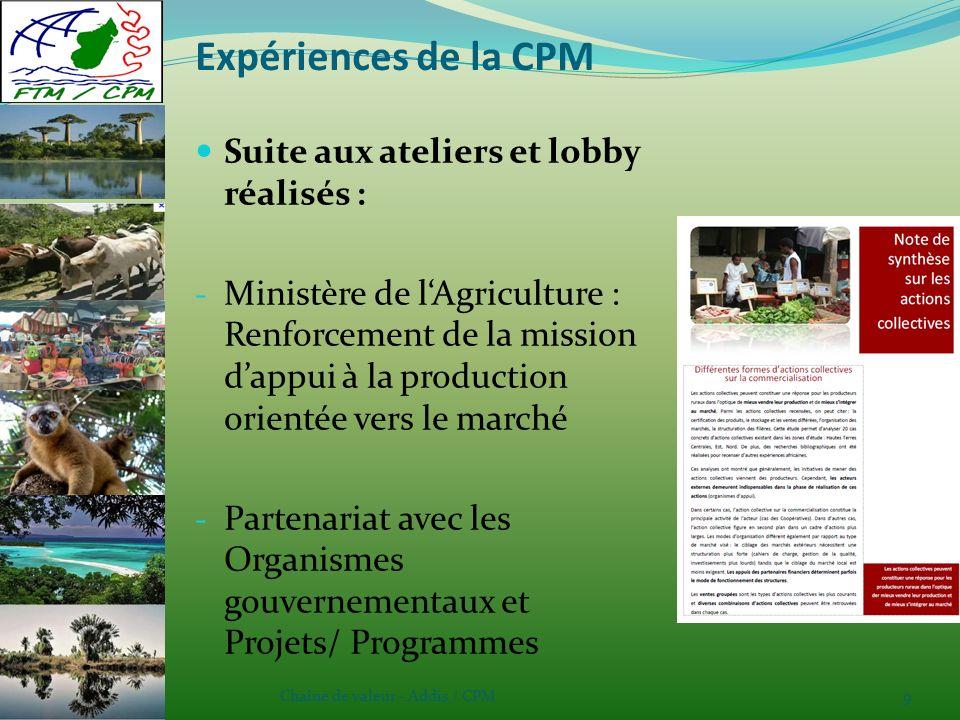 Chaîne de valeur - Addis / CPM9 Expériences de la CPM Suite aux ateliers et lobby réalisés : - Ministère de lAgriculture : Renforcement de la mission dappui à la production orientée vers le marché - Partenariat avec les Organismes gouvernementaux et Projets/ Programmes