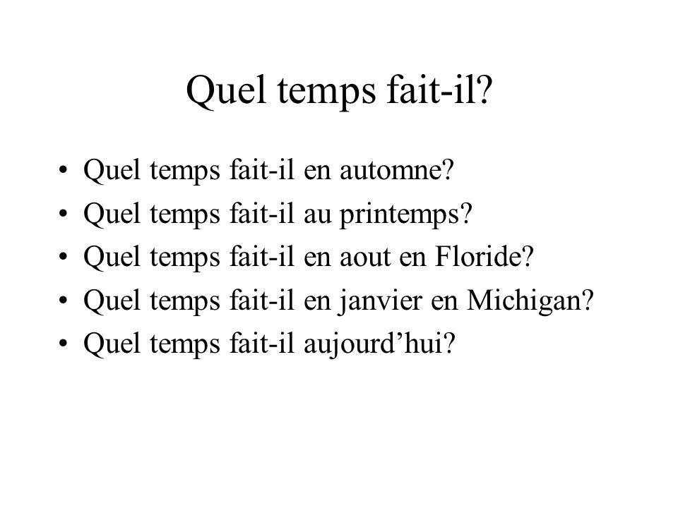 Quel temps fait-il? Quel temps fait-il en automne? Quel temps fait-il au printemps? Quel temps fait-il en aout en Floride? Quel temps fait-il en janvi