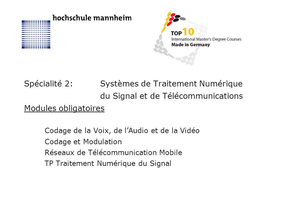 Spécialité 2:Systèmes de Traitement Numérique du Signal et de Télécommunications Modules obligatoires Codage de la Voix, de lAudio et de la Vidéo Codage et Modulation Réseaux de Télécommunication Mobile TP Traitement Numérique du Signal