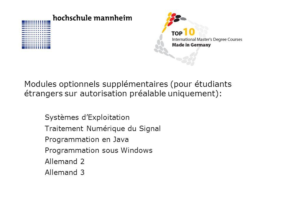 Modules optionnels supplémentaires (pour étudiants étrangers sur autorisation préalable uniquement): Systèmes dExploitation Traitement Numérique du Signal Programmation en Java Programmation sous Windows Allemand 2 Allemand 3