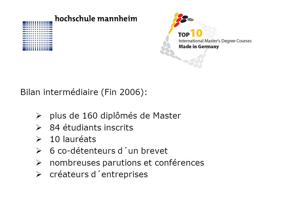 Bilan intermédiaire (Fin 2006): plus de 160 diplômés de Master 84 étudiants inscrits 10 lauréats 6 co-détenteurs d´un brevet nombreuses parutions et conférences créateurs d´entreprises
