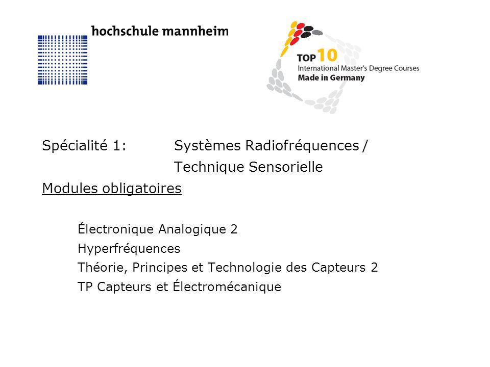 Spécialité 1:Systèmes Radiofréquences / Technique Sensorielle Modules obligatoires Électronique Analogique 2 Hyperfréquences Théorie, Principes et Technologie des Capteurs 2 TP Capteurs et Électromécanique