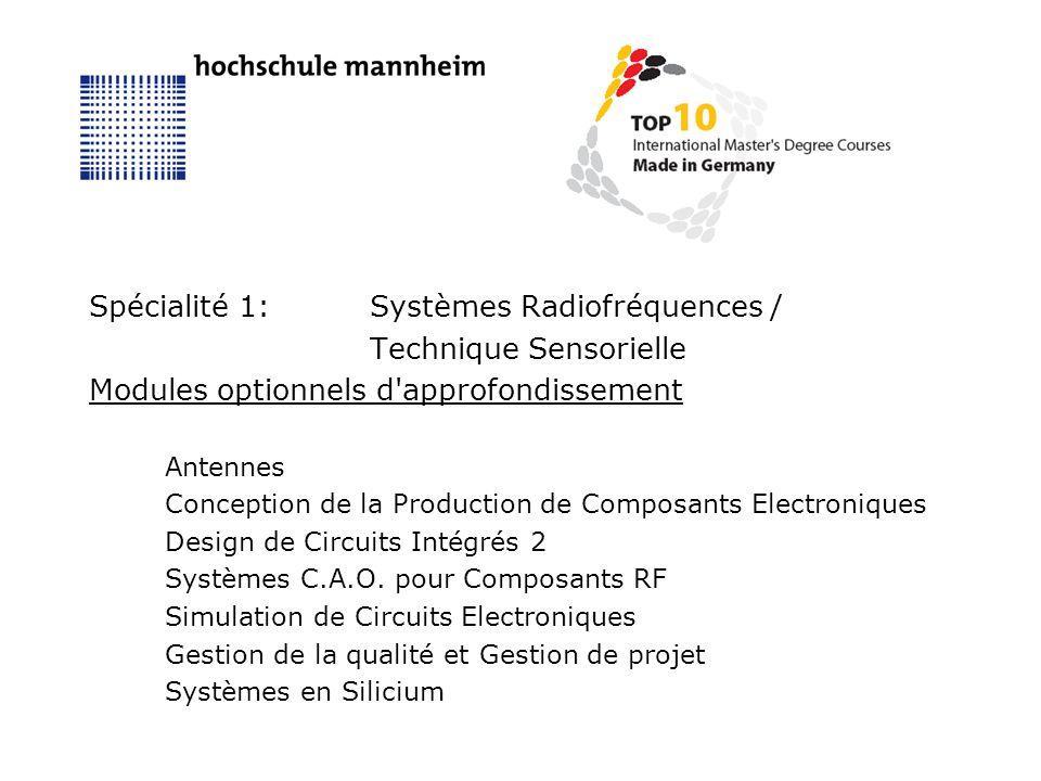 Spécialité 1:Systèmes Radiofréquences / Technique Sensorielle Modules optionnels d approfondissement Antennes Conception de la Production de Composants Electroniques Design de Circuits Intégrés 2 Systèmes C.A.O.