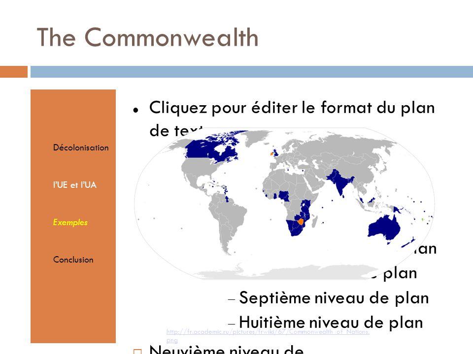 Cliquez pour éditer le format du plan de texte Second niveau de plan Troisième niveau de plan Quatrième niveau de plan Cinquième niveau de plan Sixième niveau de plan Septième niveau de plan Huitième niveau de plan Neuvième niveau de planTextmasterformate durch Klicken bearbeiten Zweite Ebene Dritte Ebene Vierte Ebene Fünfte Ebene The Commonwealth Décolonisation lUE et lUA Exemples Conclusion http://fr.academic.ru/pictures/frwiki/67/Commonwealth_of_Nations.
