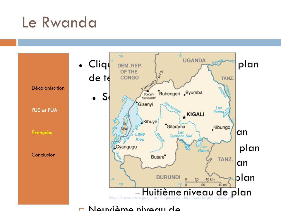 Cliquez pour éditer le format du plan de texte Second niveau de plan Troisième niveau de plan Quatrième niveau de plan Cinquième niveau de plan Sixième niveau de plan Septième niveau de plan Huitième niveau de plan Neuvième niveau de planTextmasterformate durch Klicken bearbeiten Zweite Ebene Dritte Ebene Vierte Ebene Fünfte Ebene Le Rwanda Décolonisation lUE et lUA Exemples Conclusion http://travel.state.gov/_res/images/countries/maps/large/rwanda.gif