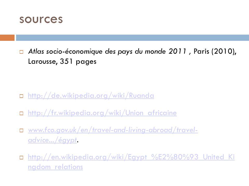 sources Atlas socio-économique des pays du monde 2011, Paris (2010), Larousse, 351 pages http://de.wikipedia.org/wiki/Ruanda http://fr.wikipedia.org/wiki/Union_africaine www.fco.gov.uk/en/travel-and-living-abroad/travel- advice.../égypt.
