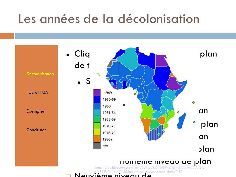 Cliquez pour éditer le format du plan de texte Second niveau de plan Troisième niveau de plan Quatrième niveau de plan Cinquième niveau de plan Sixième niveau de plan Septième niveau de plan Huitième niveau de plan Neuvième niveau de planTextmasterformate durch Klicken bearbeiten Zweite Ebene Dritte Ebene Vierte Ebene Fünfte Ebene Les années de la décolonisation Décolonisation lUE et lUA Exemples Conclusion http://2.bp.blogspot.com/_m7q181LJU9Q/S0BPX9NsW4I/AAAAAAAABIU /JhS1jFji2YI/s400/653px-Africa_independence_dates.PNG