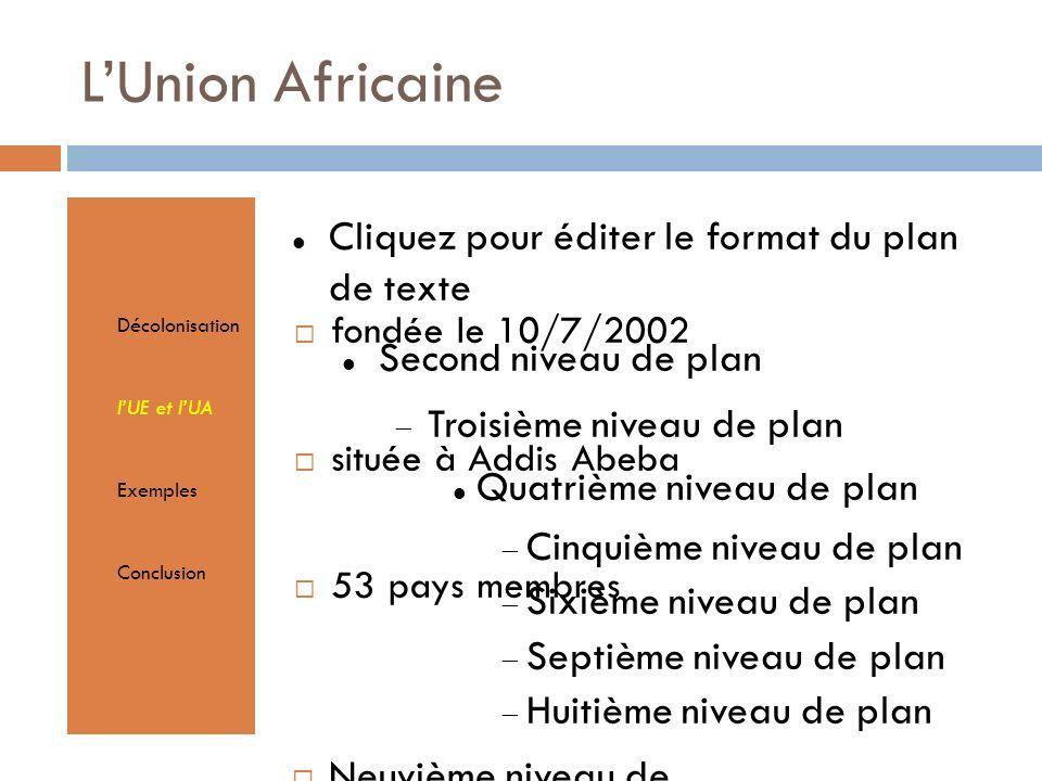 Cliquez pour éditer le format du plan de texte Second niveau de plan Troisième niveau de plan Quatrième niveau de plan Cinquième niveau de plan Sixième niveau de plan Septième niveau de plan Huitième niveau de plan Neuvième niveau de planTextmasterformate durch Klicken bearbeiten Zweite Ebene Dritte Ebene Vierte Ebene Fünfte Ebene LUnion Africaine Décolonisation lUE et lUA Exemples Conclusion fondée le 10/7/2002 située à Addis Abeba 53 pays membres