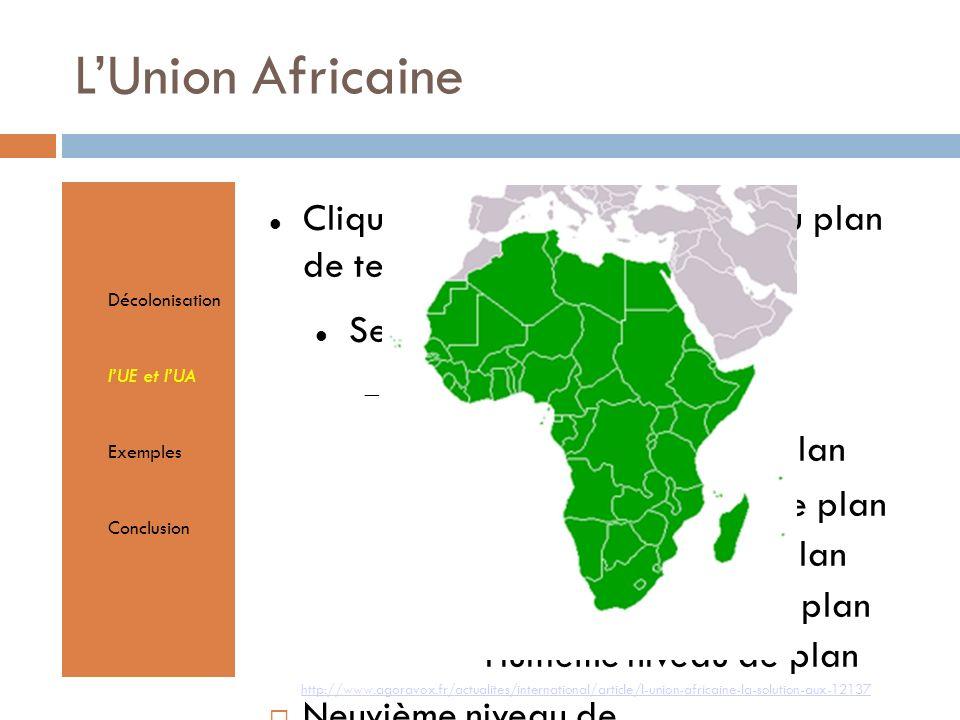 Cliquez pour éditer le format du plan de texte Second niveau de plan Troisième niveau de plan Quatrième niveau de plan Cinquième niveau de plan Sixième niveau de plan Septième niveau de plan Huitième niveau de plan Neuvième niveau de planTextmasterformate durch Klicken bearbeiten Zweite Ebene Dritte Ebene Vierte Ebene Fünfte Ebene LUnion Africaine Décolonisation lUE et lUA Exemples Conclusion http://www.agoravox.fr/actualites/international/article/l-union-africaine-la-solution-aux-12137
