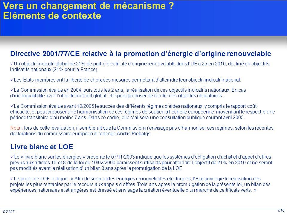 p16 DOAAT Vers un changement de mécanisme ? Eléments de contexte Directive 2001/77/CE relative à la promotion dénergie dorigine renouvelable Un object