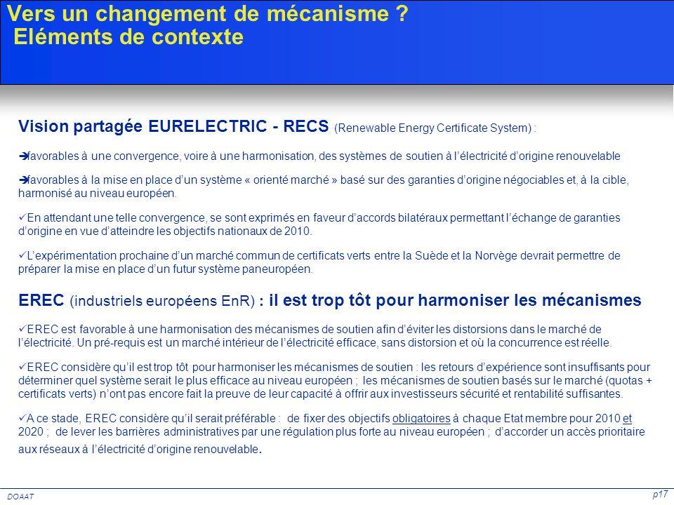 p17 DOAAT Vers un changement de mécanisme ? Eléments de contexte Vision partagée EURELECTRIC - RECS (Renewable Energy Certificate System) : favorables
