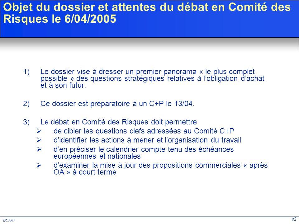 p2 DOAAT Objet du dossier et attentes du débat en Comité des Risques le 6/04/2005 1)Le dossier vise à dresser un premier panorama « le plus complet po