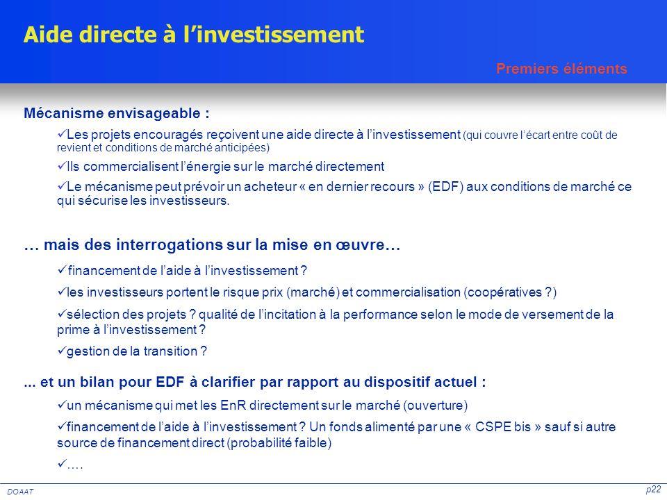 p22 DOAAT Aide directe à linvestissement Mécanisme envisageable : Les projets encouragés reçoivent une aide directe à linvestissement (qui couvre léca