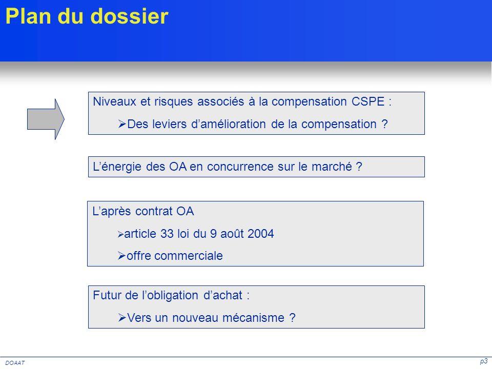 p3 DOAAT Niveaux et risques associés à la compensation CSPE : Des leviers damélioration de la compensation ? Laprès contrat OA article 33 loi du 9 aoû