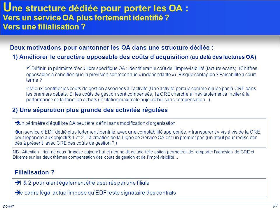 p8 DOAAT U ne structure dédiée pour porter les OA : Vers un service OA plus fortement identifié ? Vers une filialisation ? 1) Améliorer le caractère o