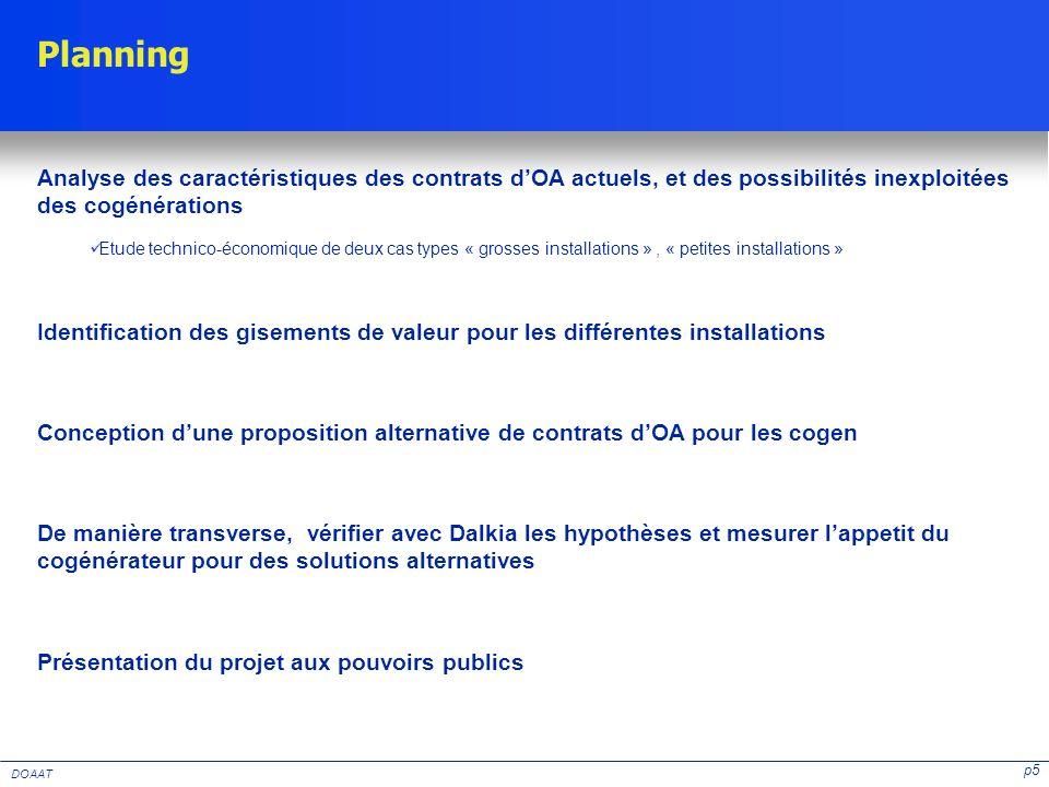 p5 DOAAT Planning Analyse des caractéristiques des contrats dOA actuels, et des possibilités inexploitées des cogénérations Etude technico-économique