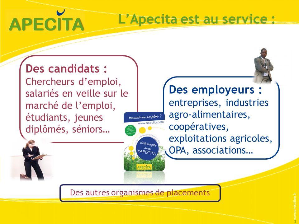 LApecita est au service : 3 Des candidats : Chercheurs demploi, salariés en veille sur le marché de lemploi, étudiants, jeunes diplômés, séniors… Des