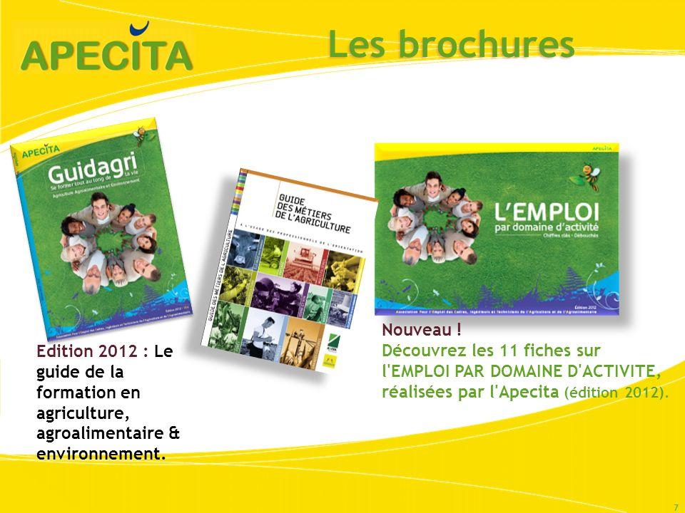 Les brochures 7 Nouveau ! Découvrez les 11 fiches sur l'EMPLOI PAR DOMAINE D'ACTIVITE, réalisées par l'Apecita (édition 2012). Edition 2012 : Le guide