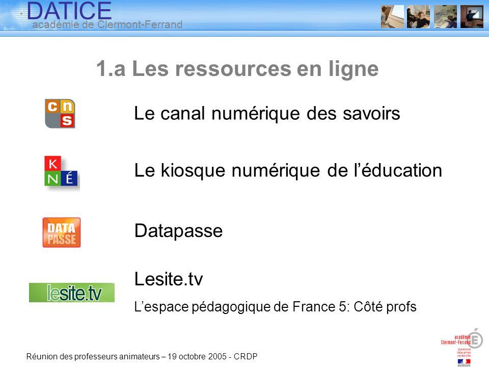 DATICE académie de Clermont-Ferrand Réunion des professeurs animateurs – 19 octobre 2005 - CRDP Le canal numérique des savoirs Le kiosque numérique de