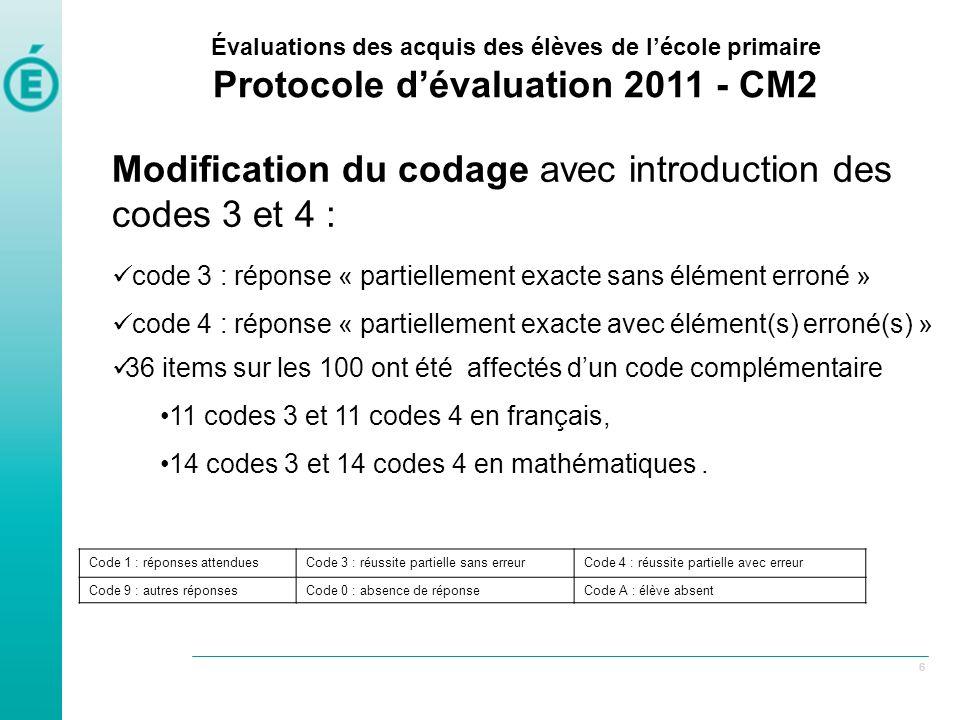 77 Modification de lapplication locale Évaluations des acquis des élèves de lécole primaire Protocole dévaluation 2011 - CM2 M odification des grilles de codage pour accepter les codes 3 et 4 (ainsi que 0 à 9 pour les 30 items tests)
