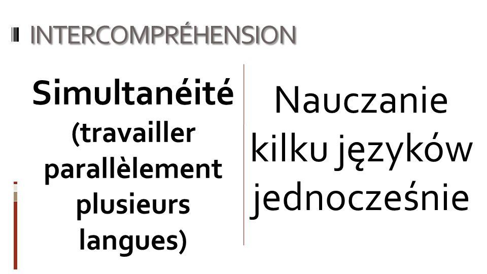 INTERCOMPRÉHENSION Nauczanie kilku języków jednocześnie Simultanéité (travailler parallèlement plusieurs langues)