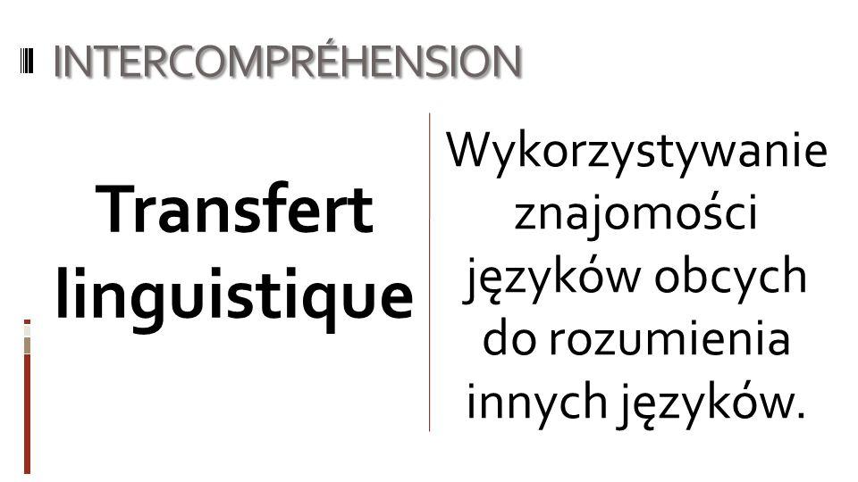 INTERCOMPRÉHENSION Wykorzystywanie znajomości języków obcych do rozumienia innych języków. Transfert linguistique