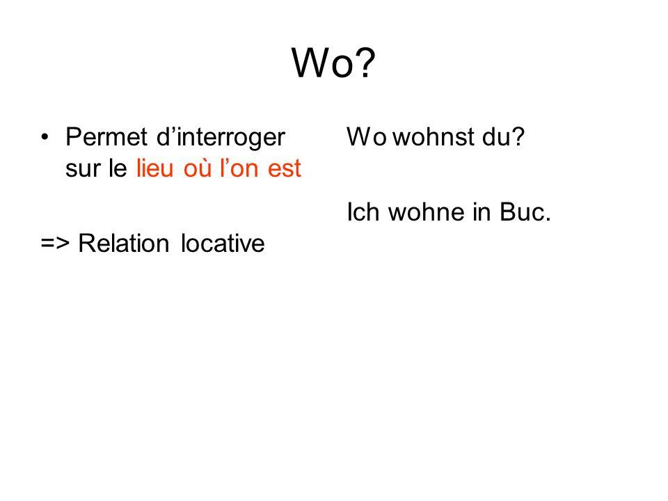Wo? Permet dinterroger sur le lieu où lon est => Relation locative Wo wohnst du? Ich wohne in Buc.