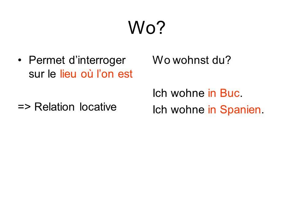 Wo.Permet dinterroger sur le lieu où lon est => Relation locative Wo wohnst du.