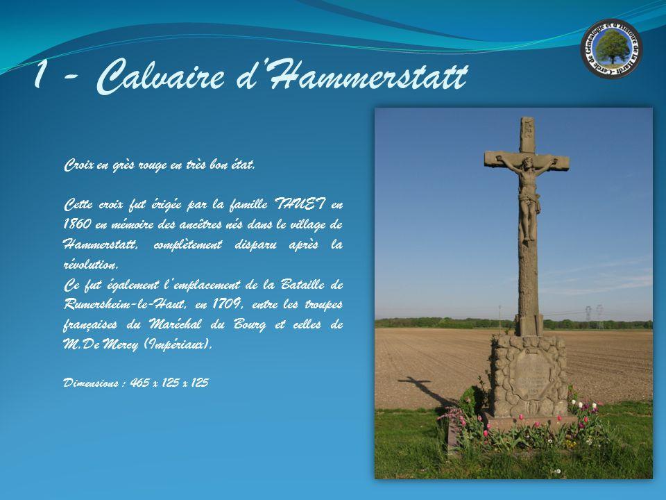 7 - Calvaire Krütenauerweg Sous le Christ sont gravées MST dont on ne connait pas lorigine et la signification Sur le socle on distingue l inscription suivante : JESUS NOSTRA SALVUS DOMINUS MORTUES 1783
