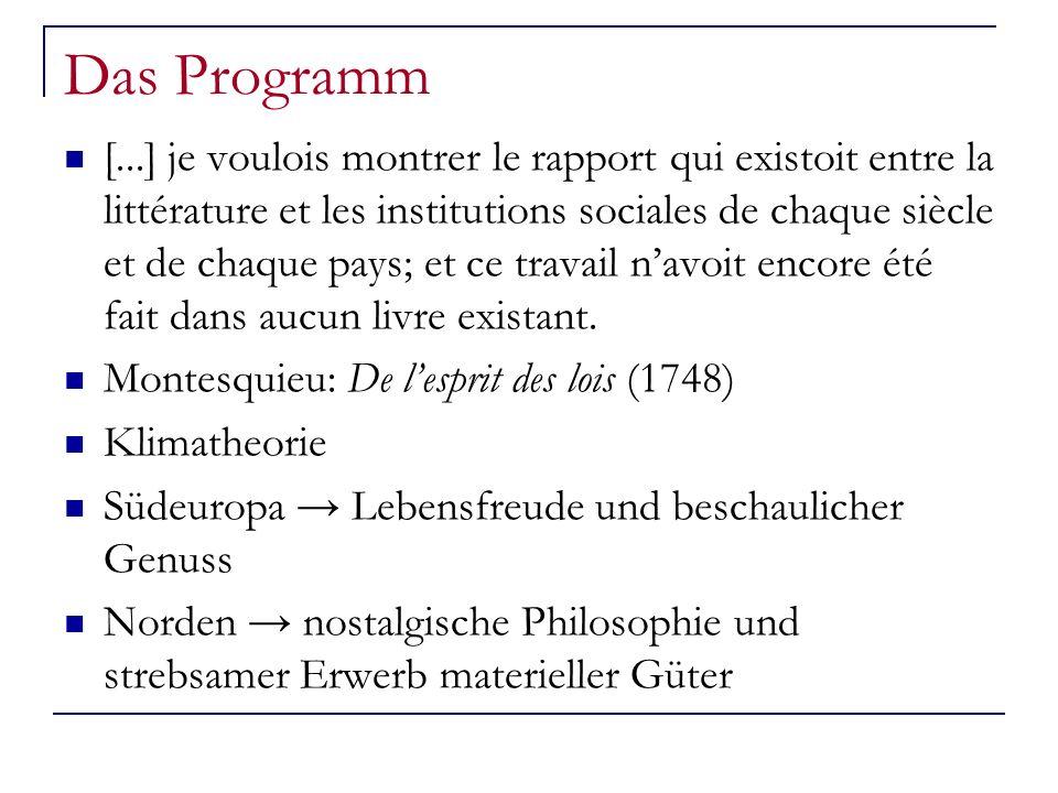 Das Programm [...] je voulois montrer le rapport qui existoit entre la littérature et les institutions sociales de chaque siècle et de chaque pays; et