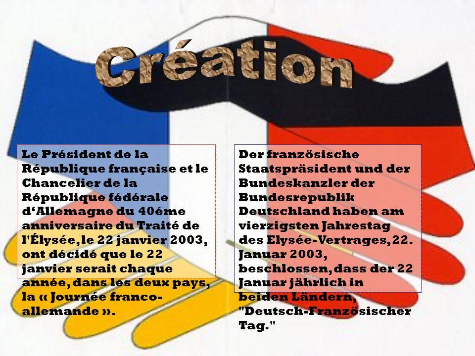 Le Président de la République française et le Chancelier de la République fédérale dAllemagne du 40éme anniversaire du Traité de l'Élysée, le 22 janvi