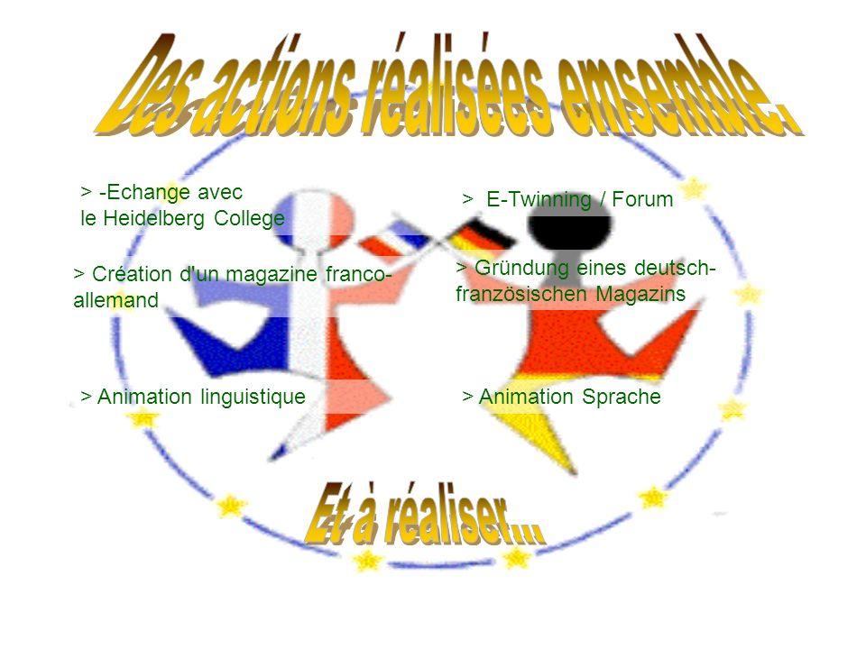 > -Echange avec le Heidelberg College > E-Twinning / Forum > Création d'un magazine franco- allemand > Gründung eines deutsch- französischen Magazins
