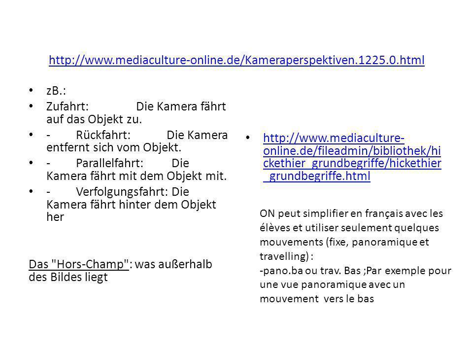 http://www.mediaculture-online.de/Kameraperspektiven.1225.0.html zB.: Zufahrt: Die Kamera fährt auf das Objekt zu. -Rückfahrt: Die Kamera entfernt sic