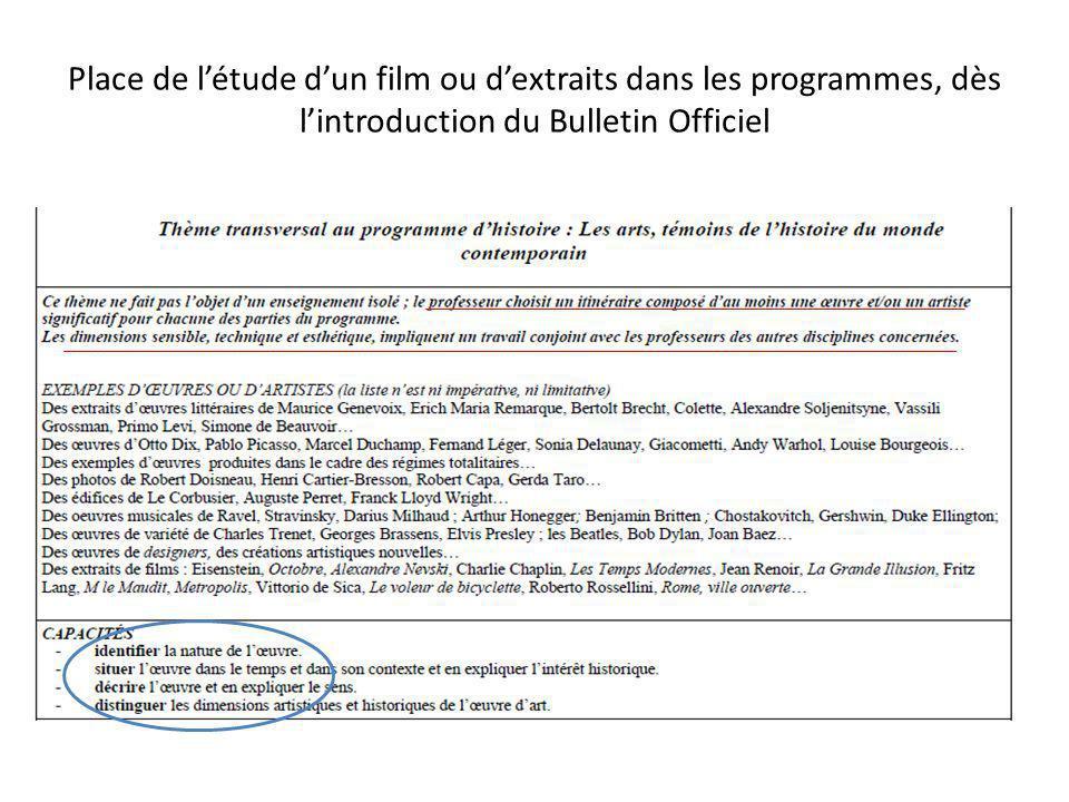 Place de létude dun film ou dextraits dans les programmes, dès lintroduction du Bulletin Officiel