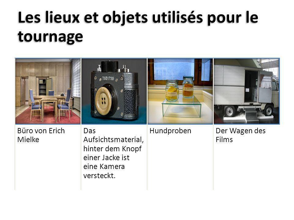 Les lieux et objets utilisés pour le tournage Büro von Erich Mielke Das Aufsichtsmaterial, hinter dem Knopf einer Jacke ist eine Kamera versteckt. Hun