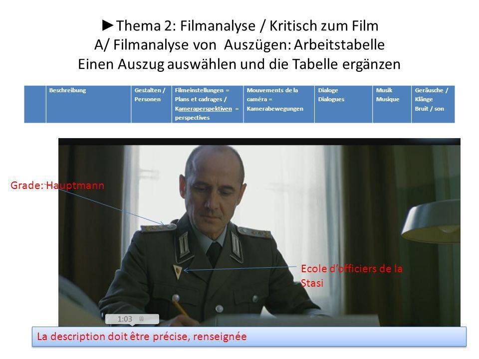 Thema 2: Filmanalyse / Kritisch zum Film A/ Filmanalyse von Auszügen: Arbeitstabelle Einen Auszug auswählen und die Tabelle ergänzen Grade: Hauptmann