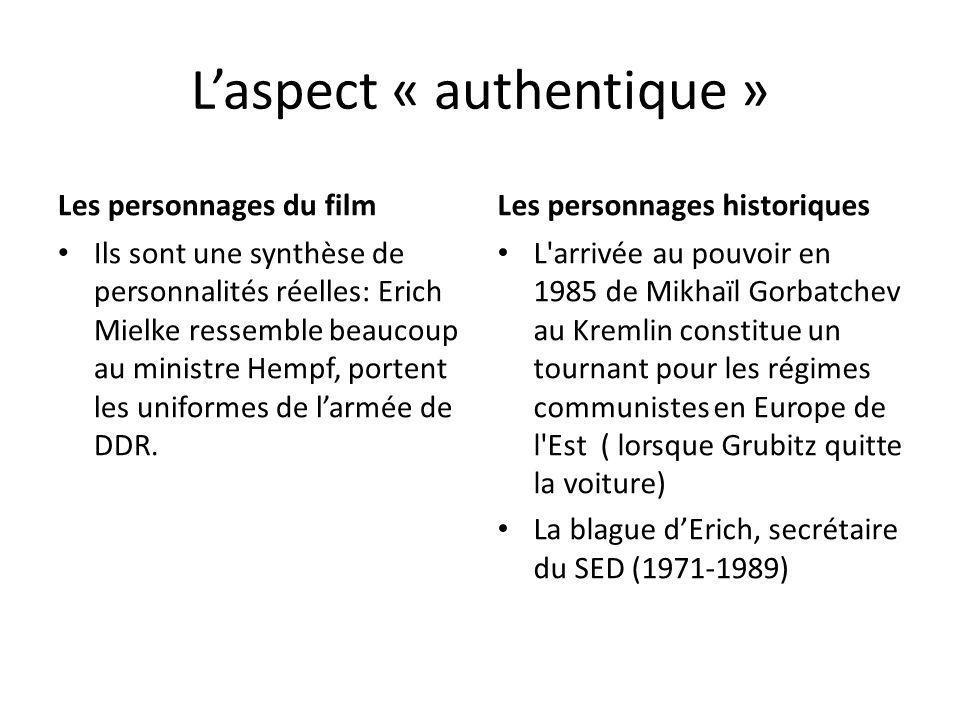 Laspect « authentique » Les personnages du film Ils sont une synthèse de personnalités réelles: Erich Mielke ressemble beaucoup au ministre Hempf, por