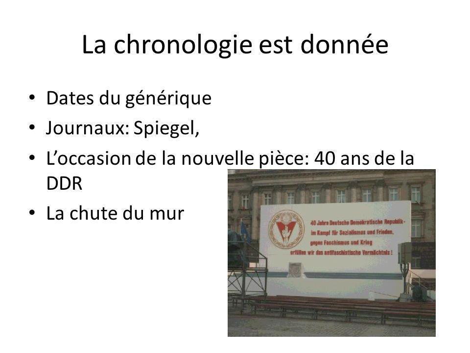 La chronologie est donnée Dates du générique Journaux: Spiegel, Loccasion de la nouvelle pièce: 40 ans de la DDR La chute du mur
