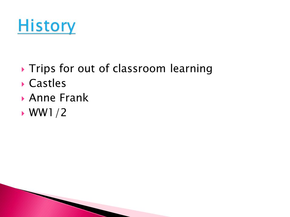 Trips for out of classroom learning Castles Anne Frank WW1/2